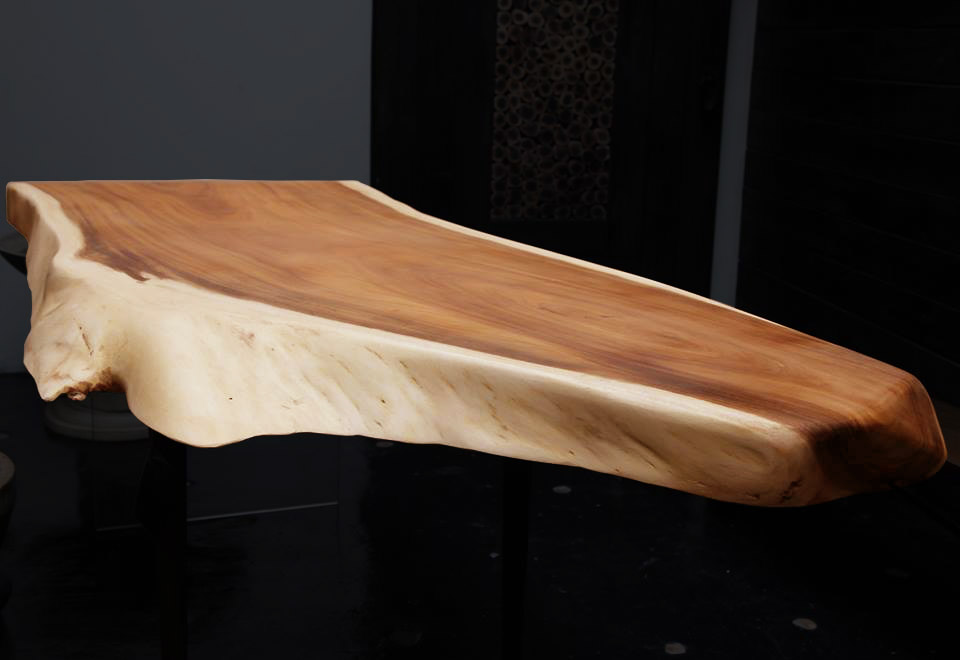Live Edge Suarwood table with white edges