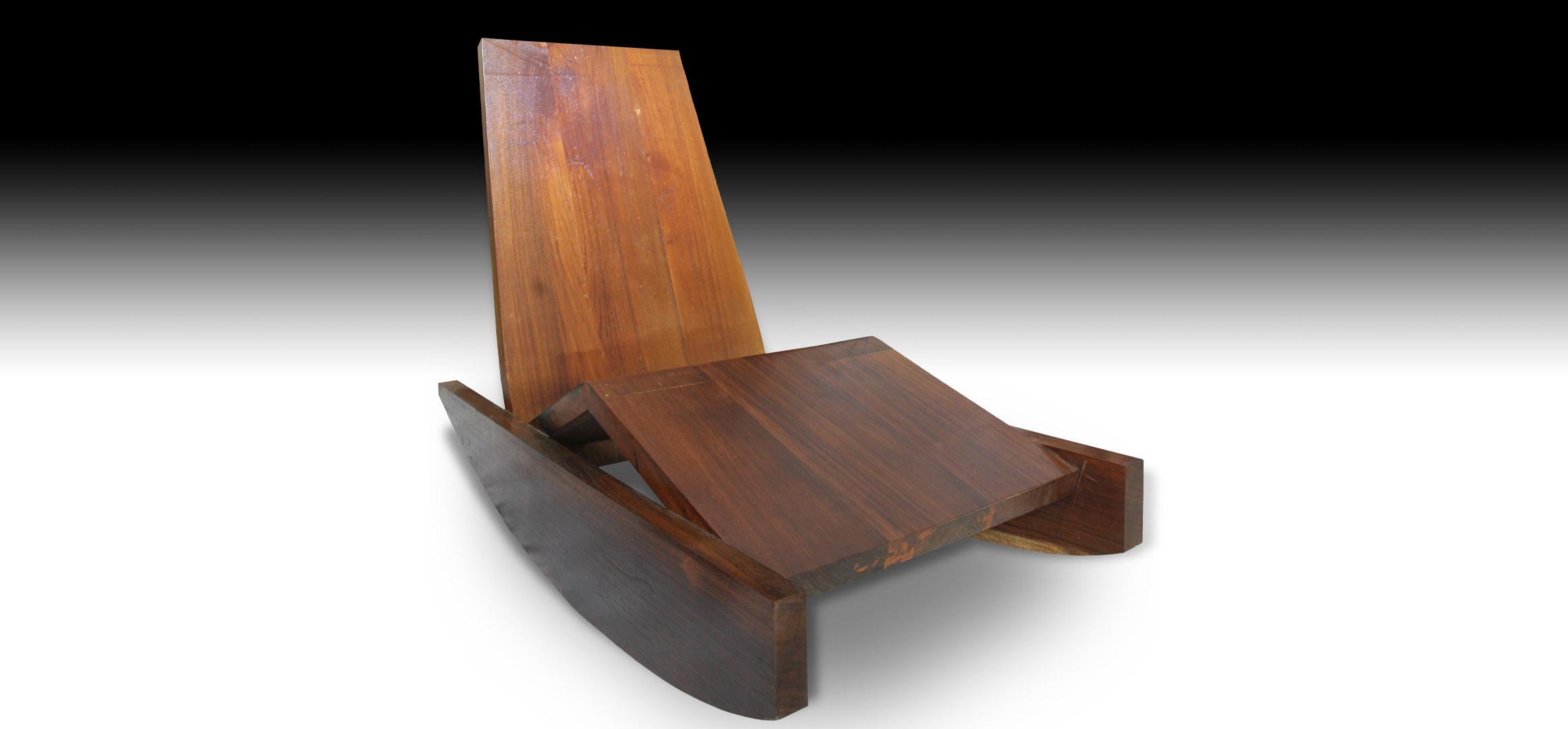 Close up view Rian reclining Suar wood sofa bench