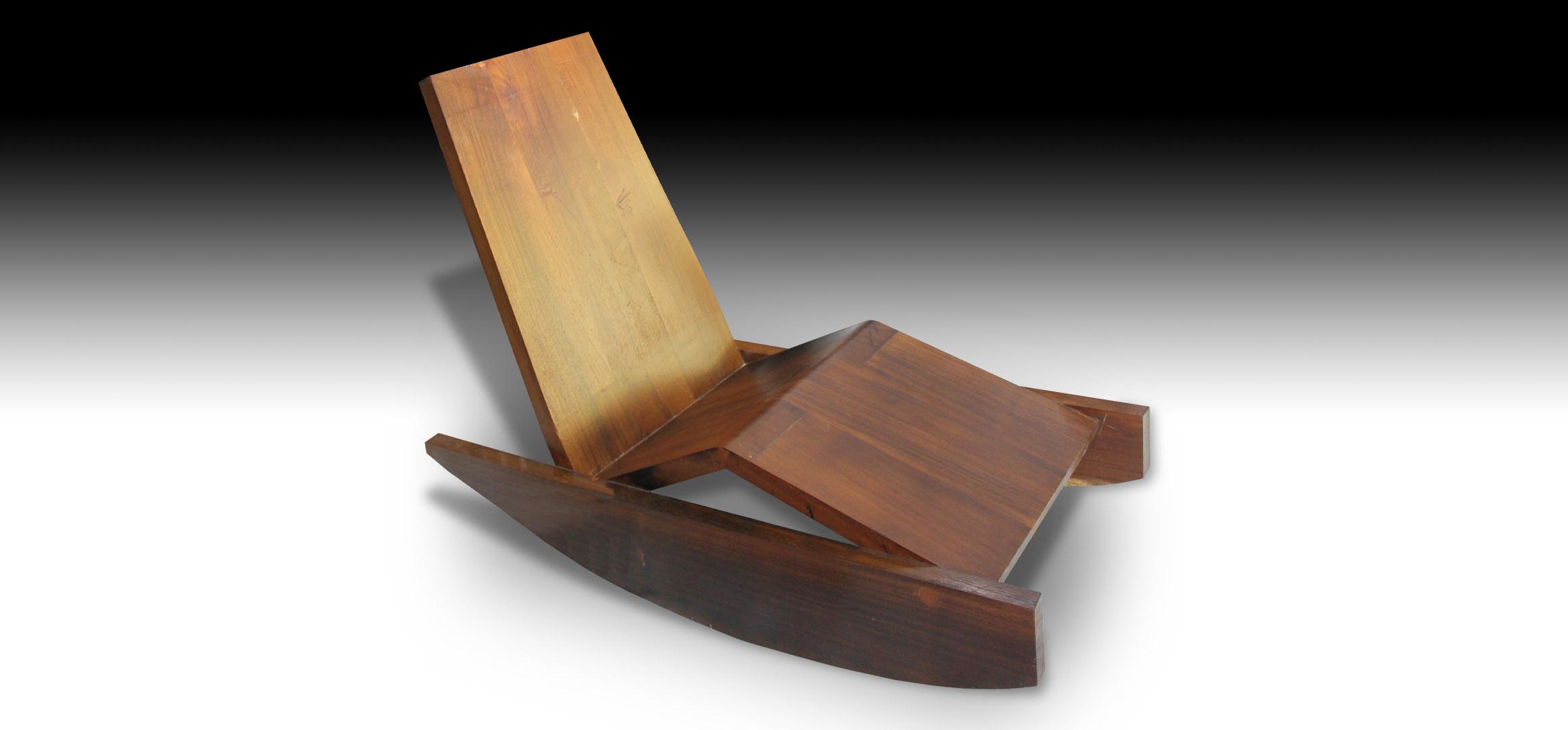 Side view of Rian reclining Suar wood sofa bench