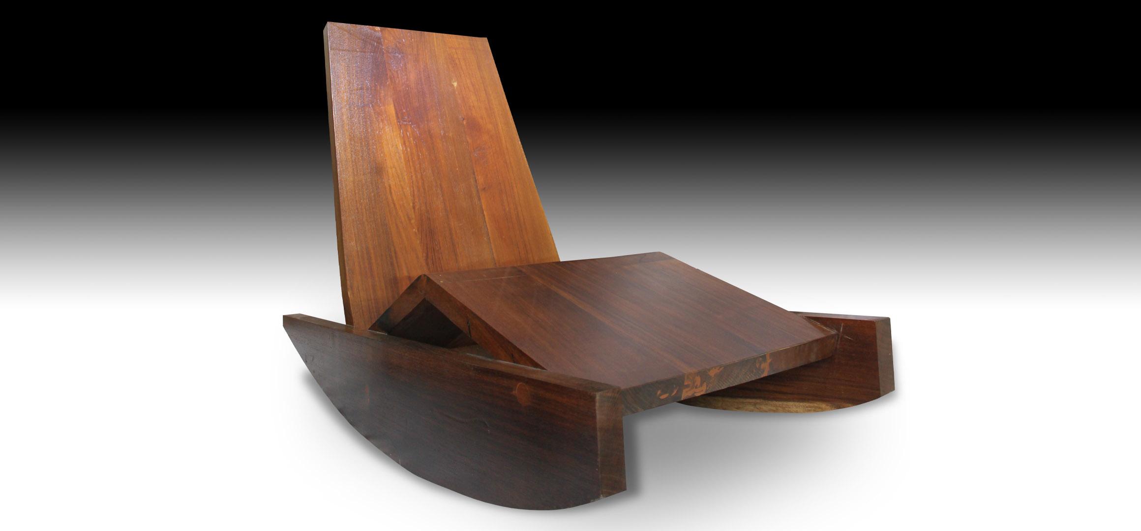 Rian reclining Suar wood sofa bench view 1