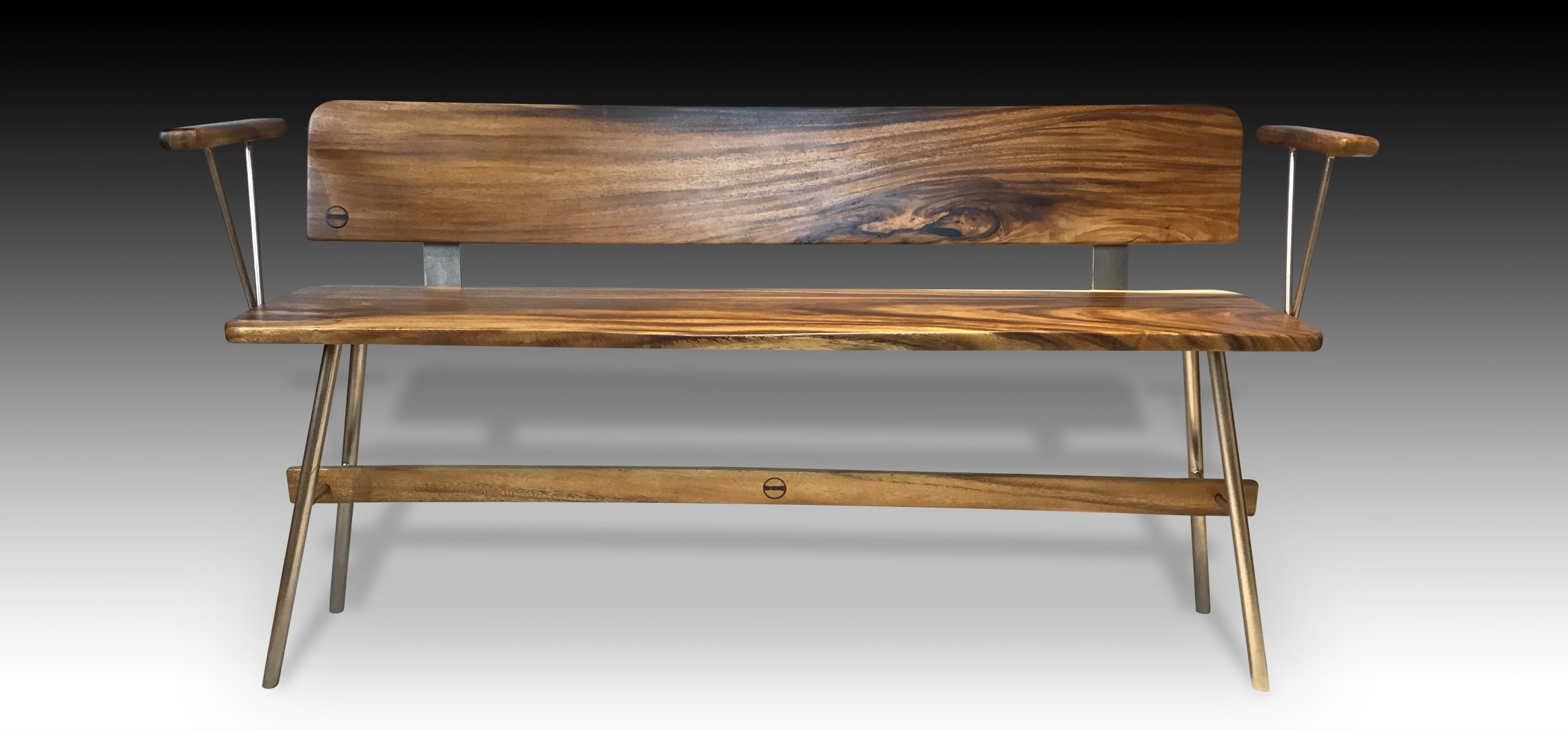 The front view of Suar wood wooden bench with Vernon Rose Gold legs and handle