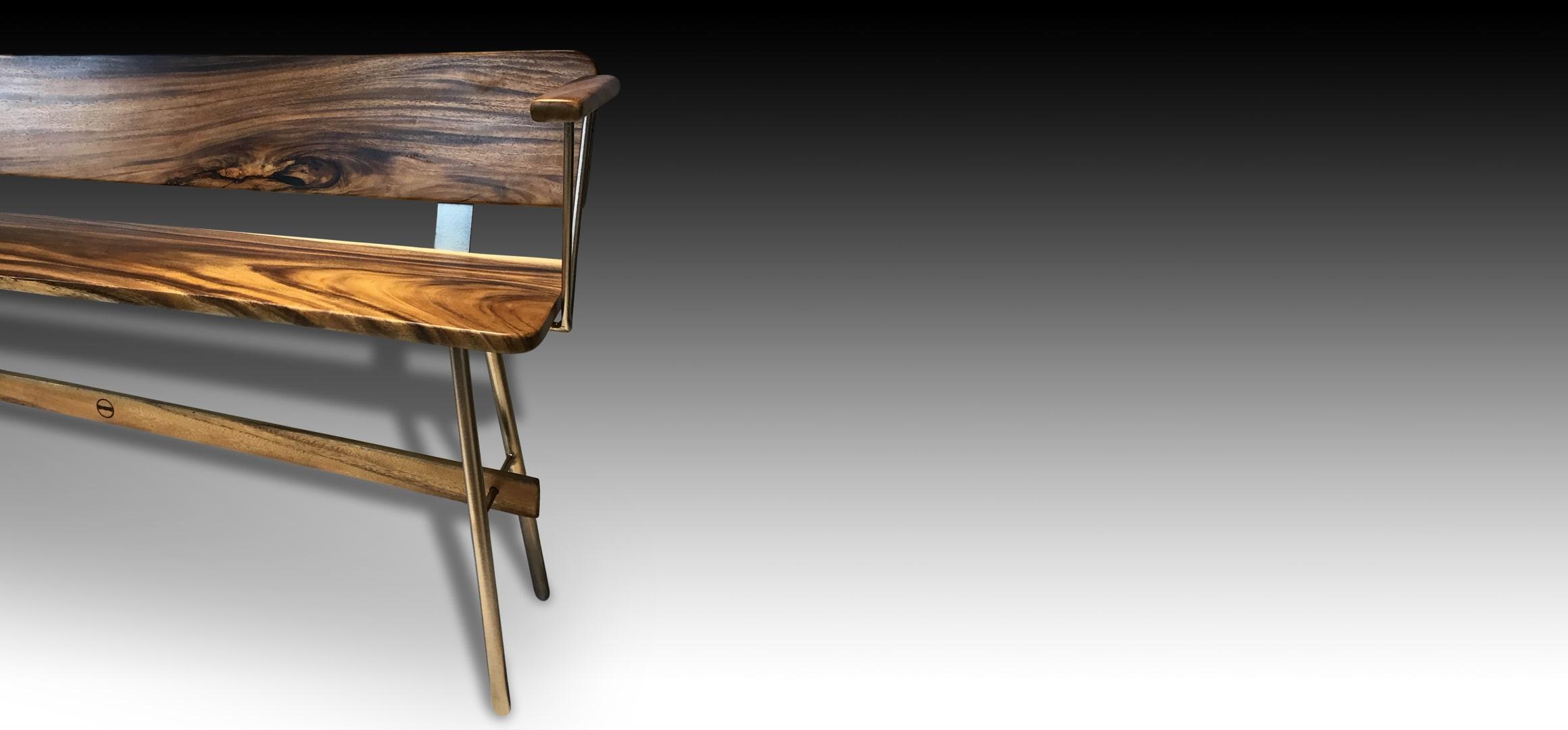 Vernon Rose Gold Suar wood wooden bench