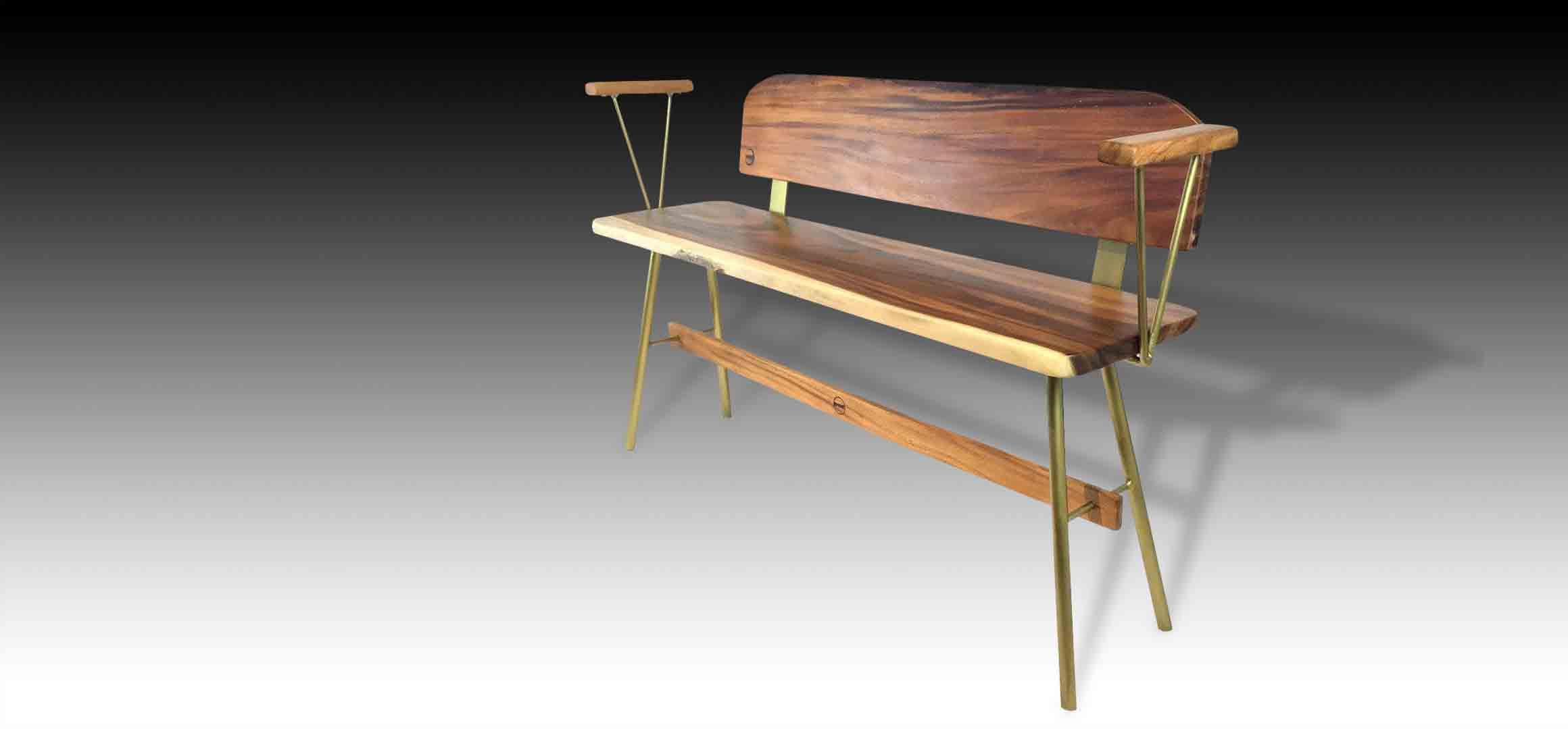 Vernon Gold Suar wood Bench diagonal view