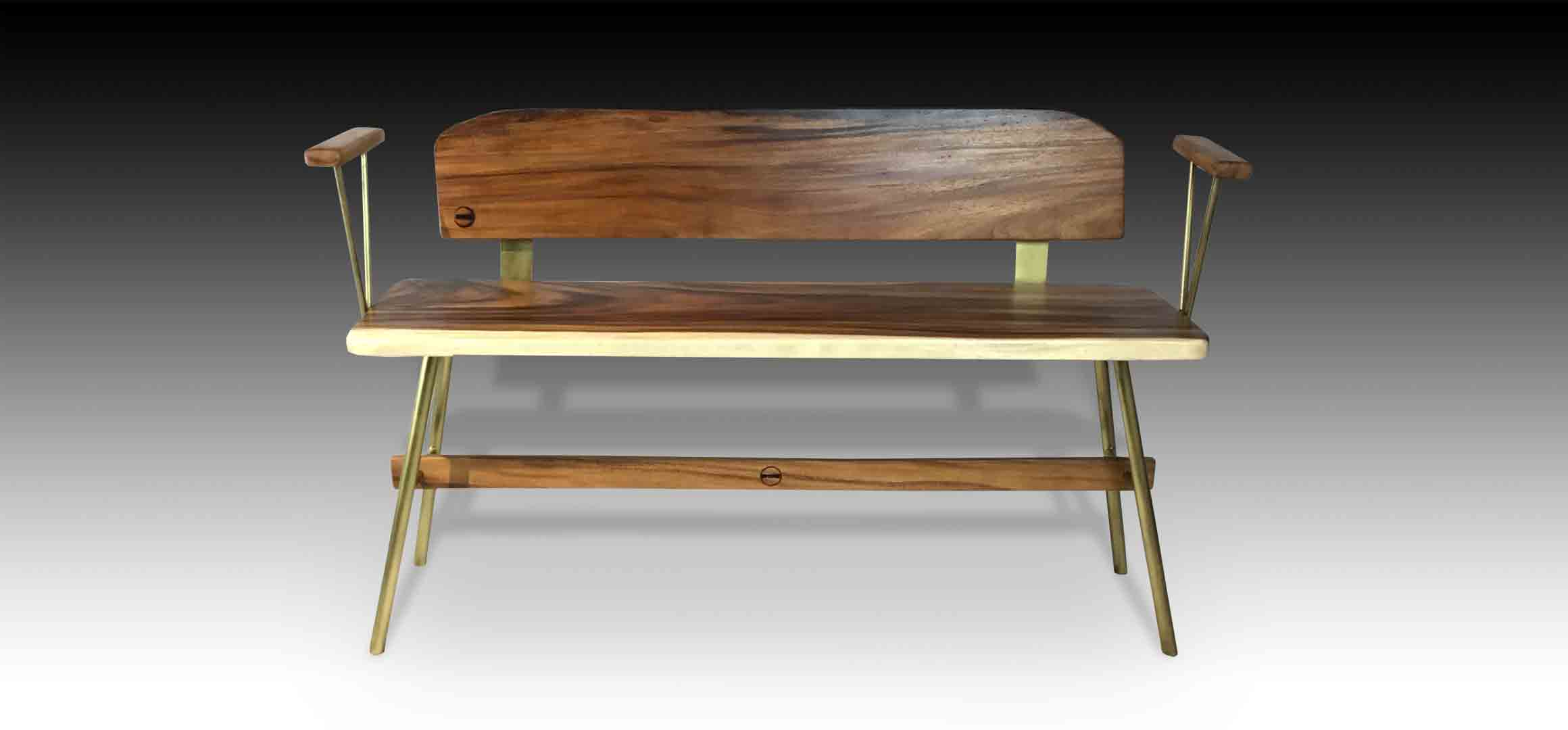 Vernon Gold Suar wood Bench front view