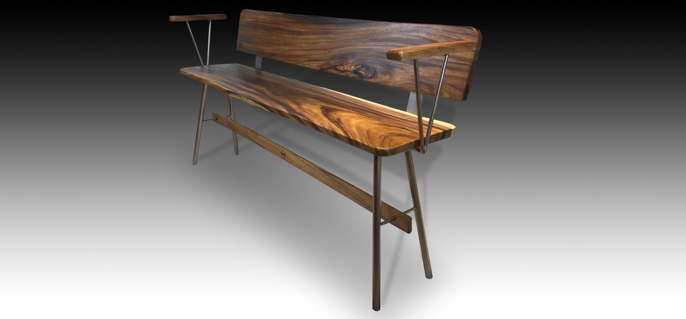 Vernon Rose Gold Suar wood bench diagonal view