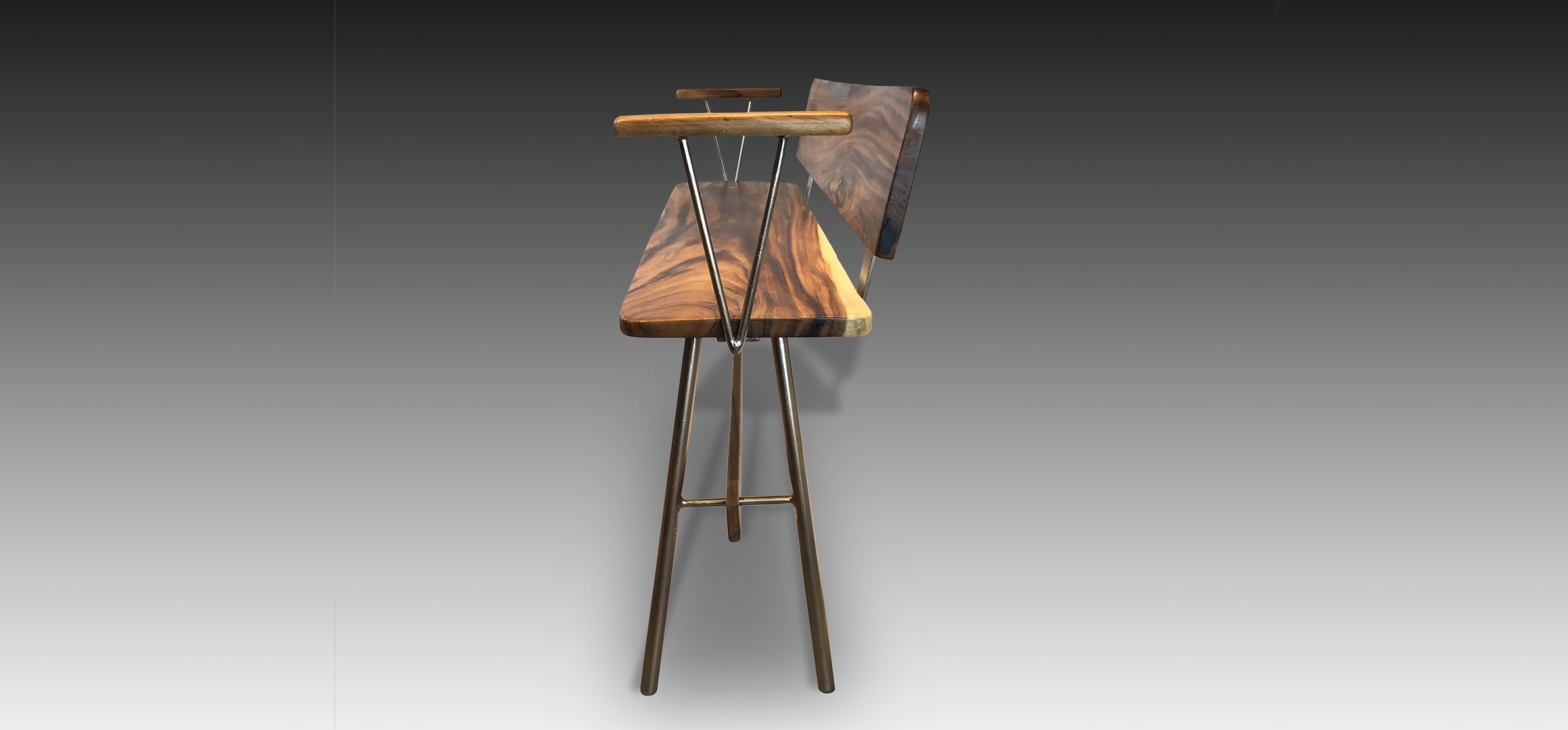 Vernon Rose Gold Suar Wood bench side view