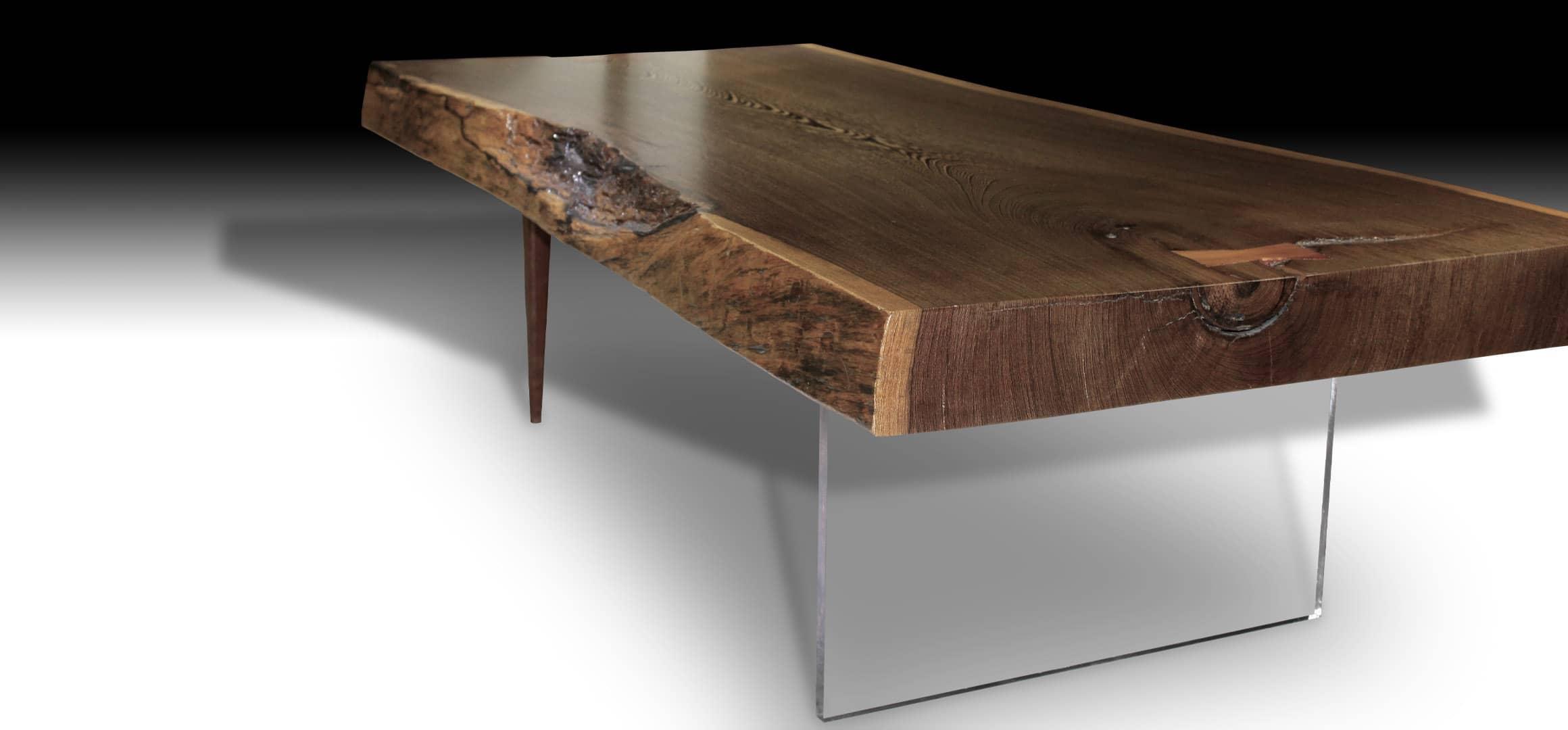 Animal live edge walnut wood coffee table with teak wood pencil legs and glass base