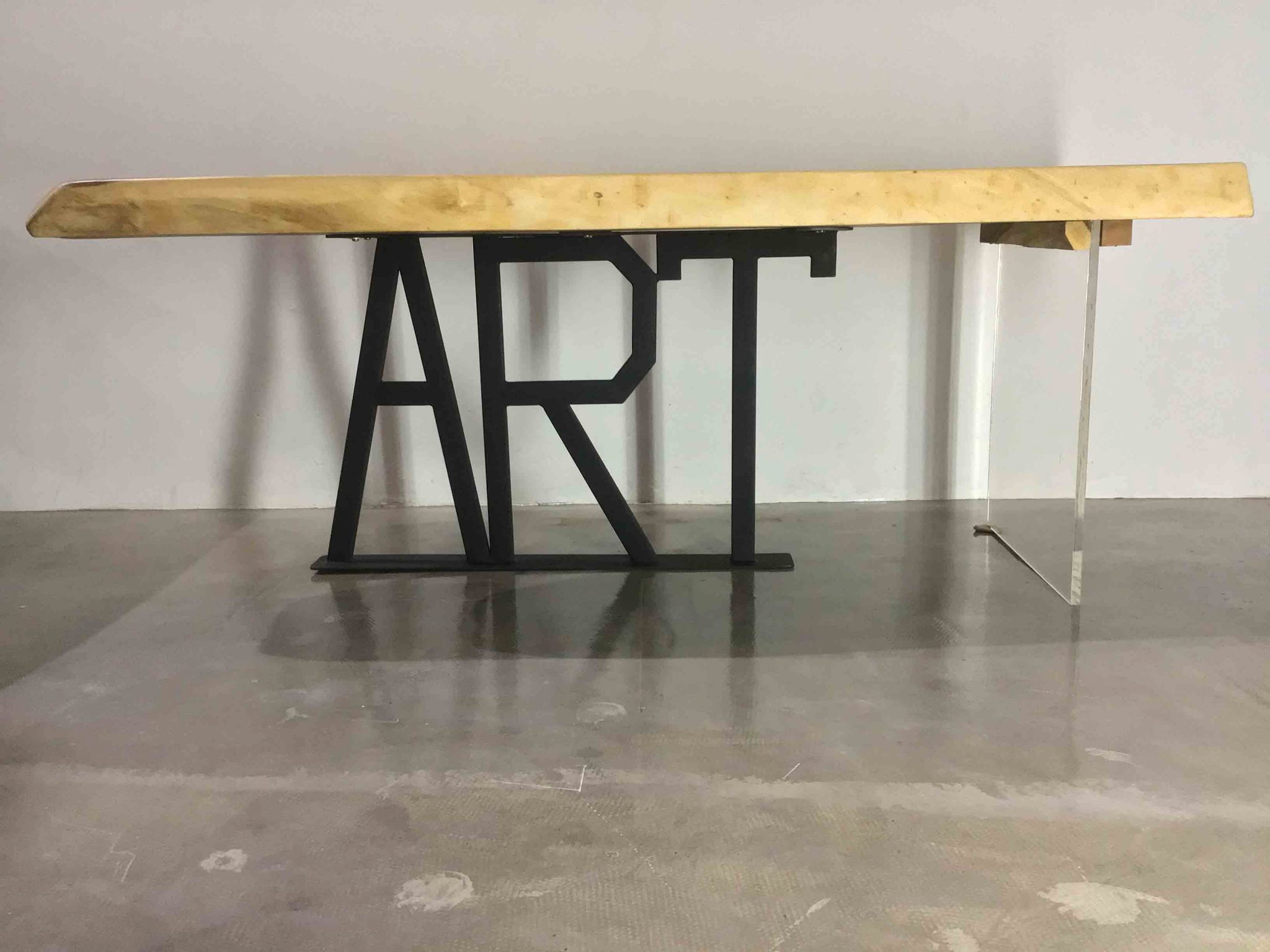 Art suar wood table with metal and glass base