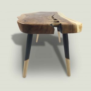 Branca live edge Suar wood coffee table with wooden legs