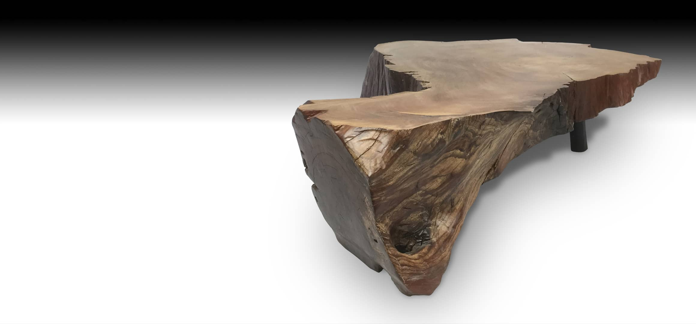 Cliff live edge Mahogany wood coffee table diagonal view 1