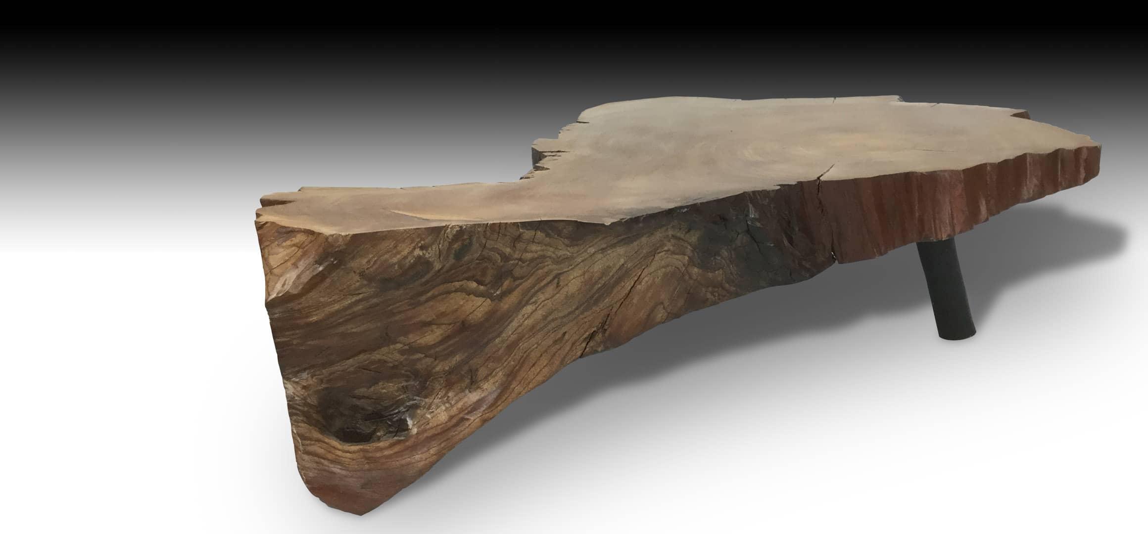 Cliff live edge Mahogany wood coffee table diagonal view 2