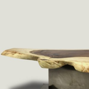 Enrico live edge wooden coffee table with metal base
