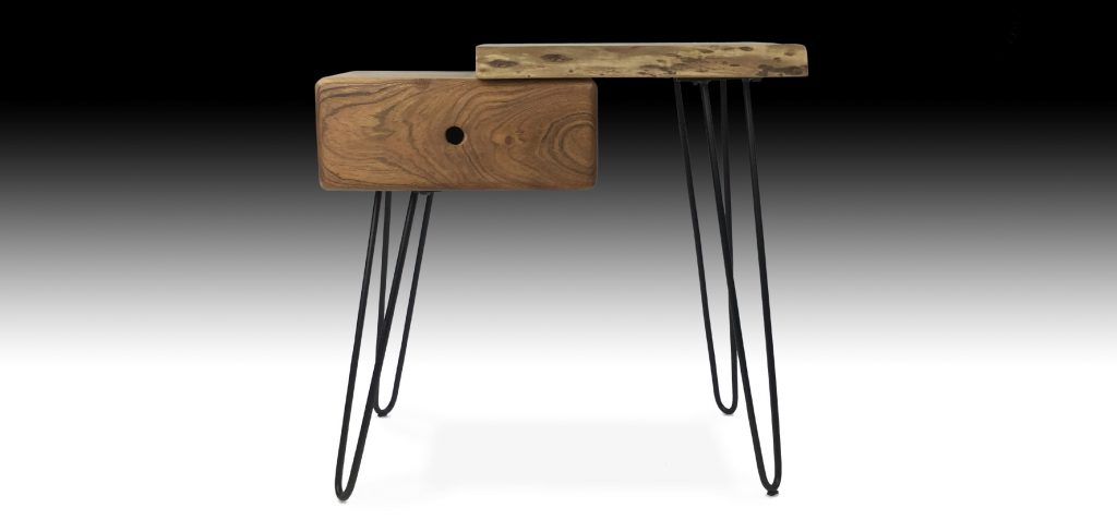 Gandan Acacia wood side table with metal legs front view