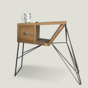 Gandan cube wooden side table with metal legs