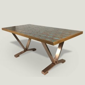 Issac wooden dining table with metal base