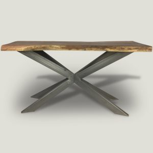 Ivars live edge Suar wood console table with crossed metal base