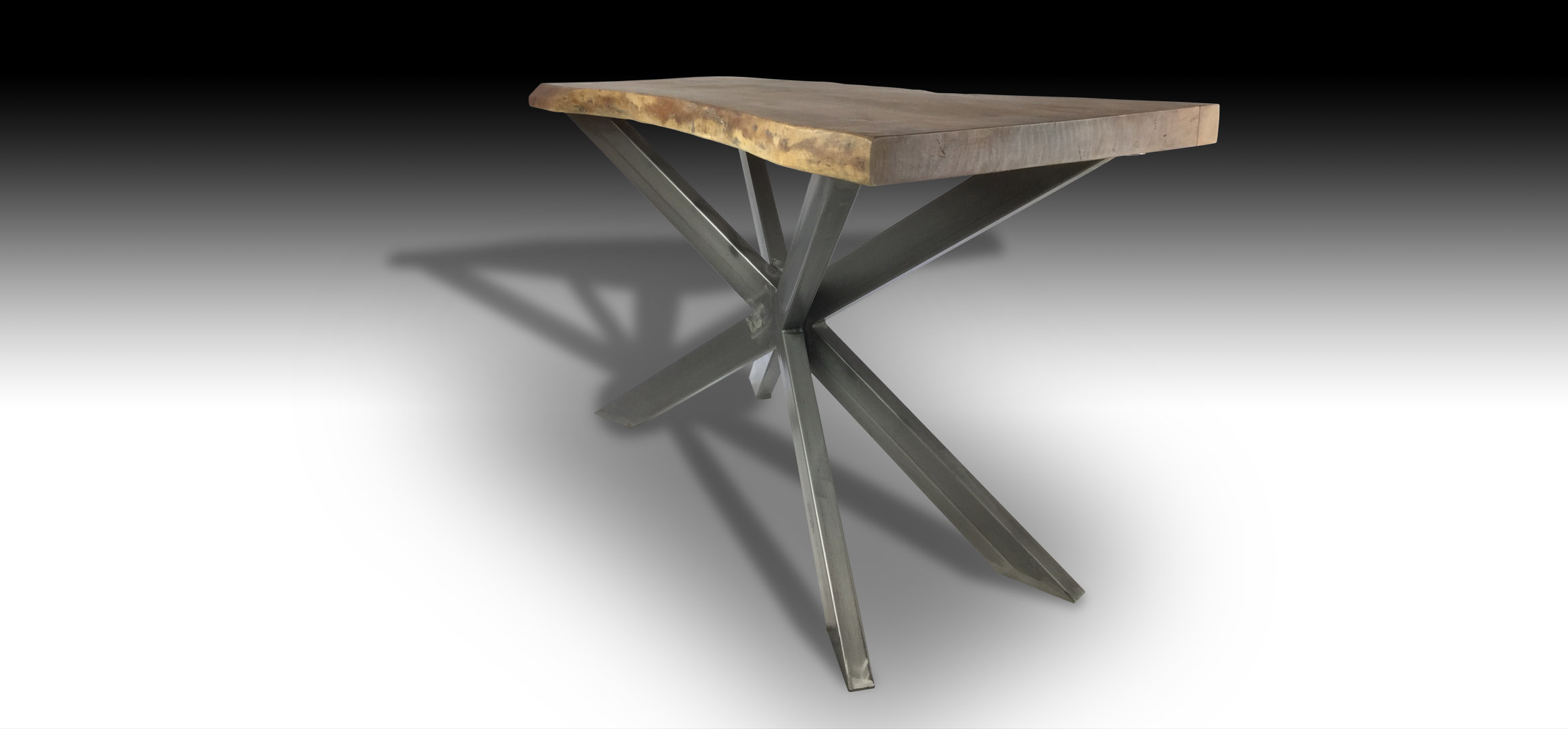 Ivars live edge Acacia wood console Table with cross metal base diagonal view