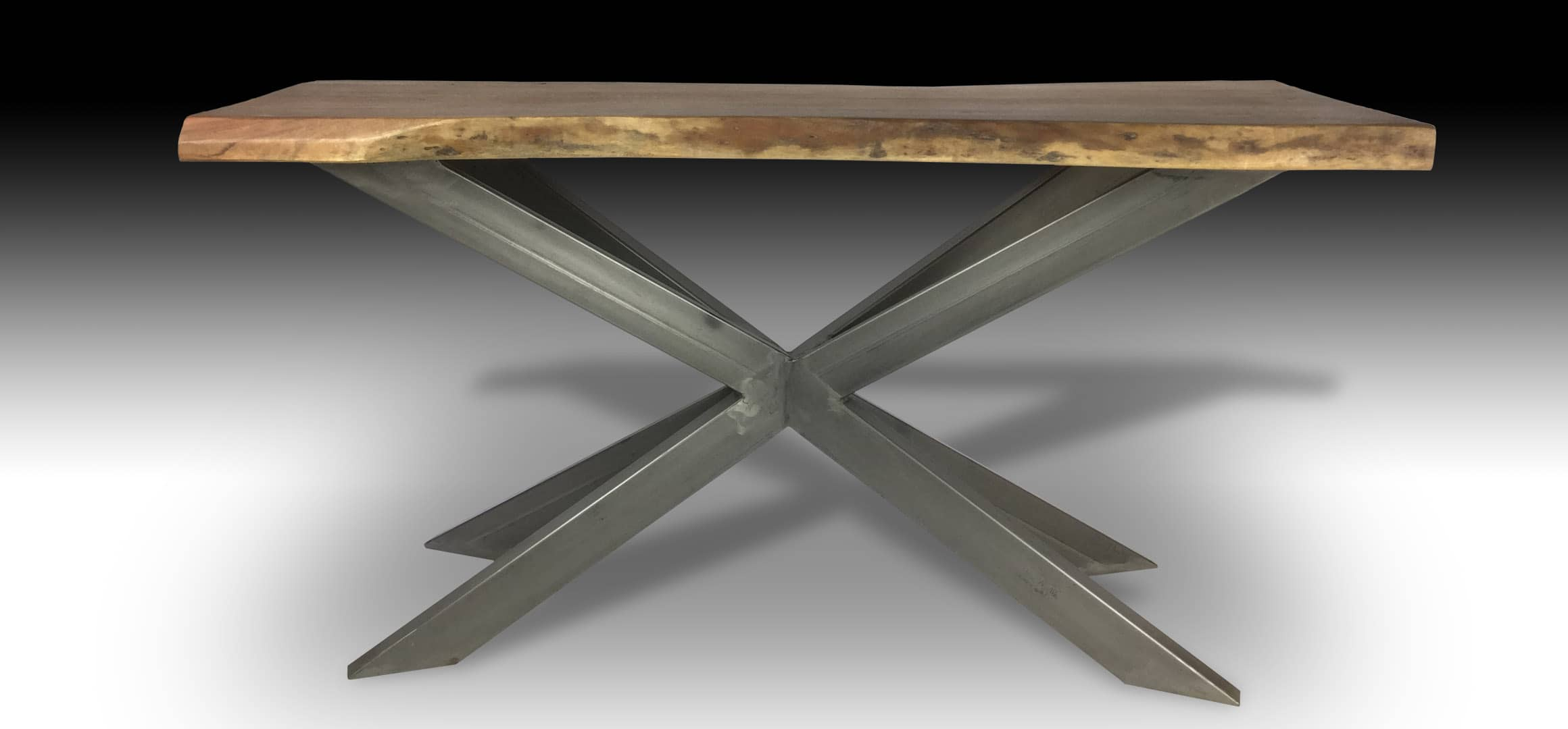 Ivars live edge Acacia wood console Table with cross metal base front view