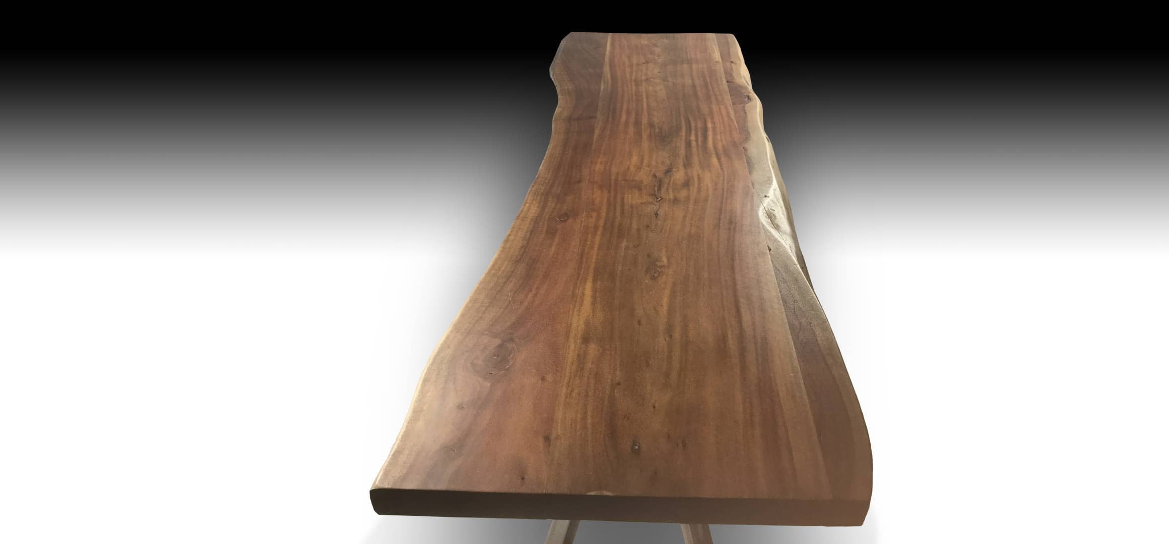Ivars live edge Acacia wood console table top view