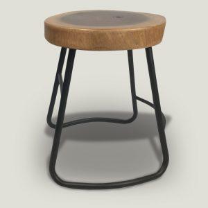 Julian Suar Wood stool with metal base