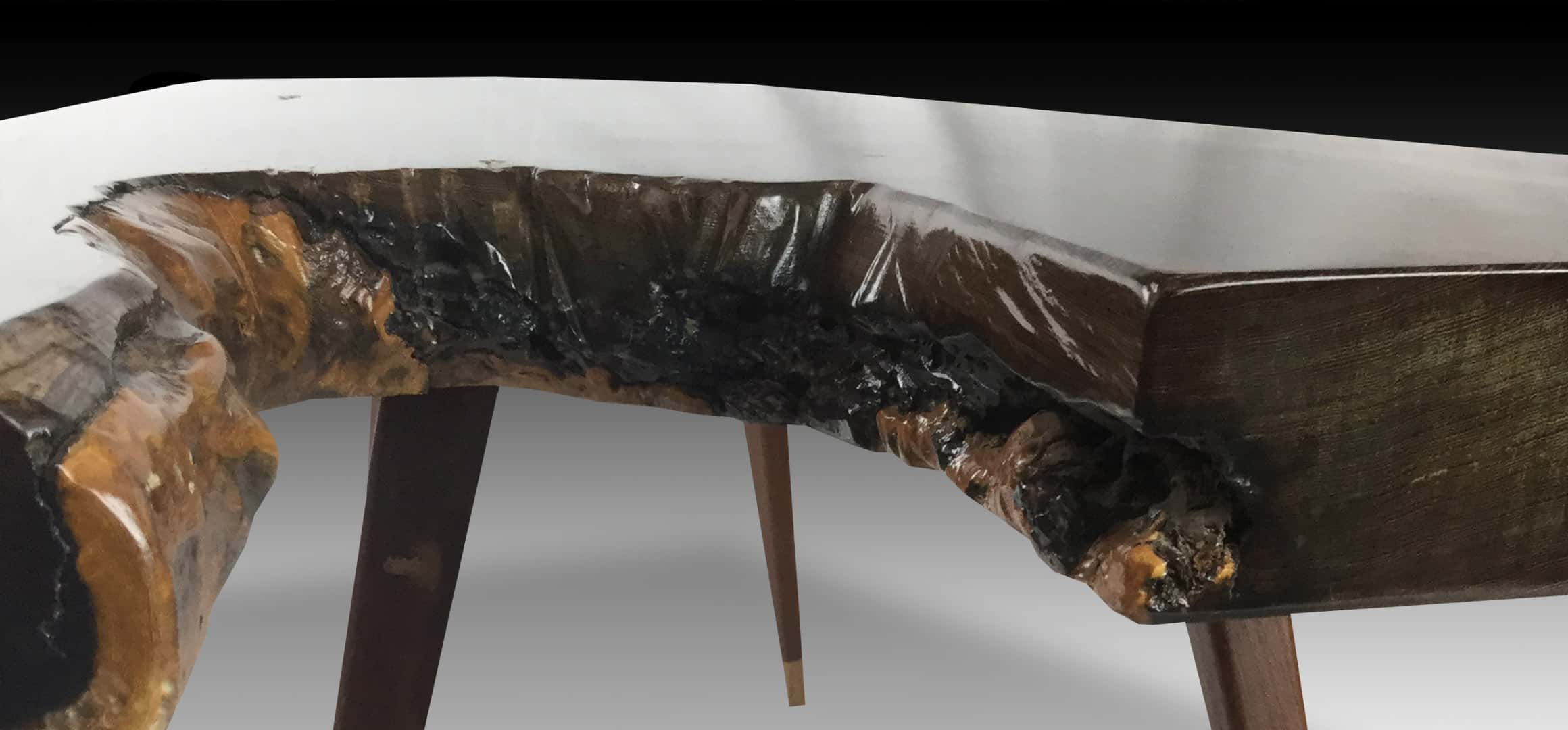 Leopard live edge Suar wood coffee table