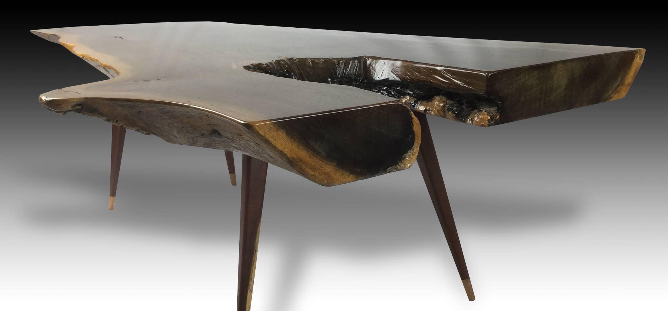 Leopard live edge Walnut wood coffee table diagonal view