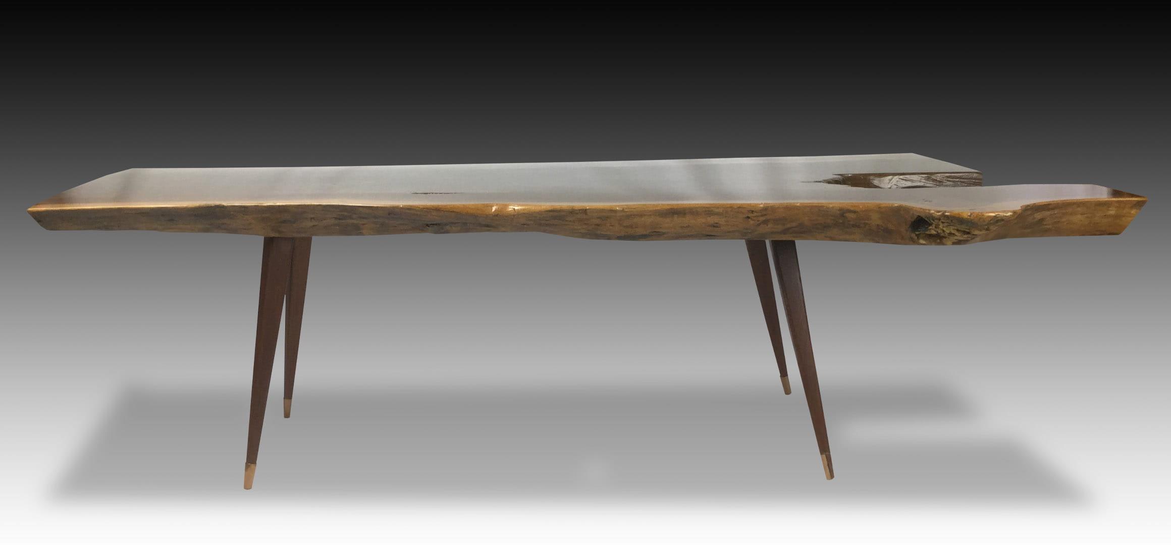 Leopard live edge walnut wood coffee table side view