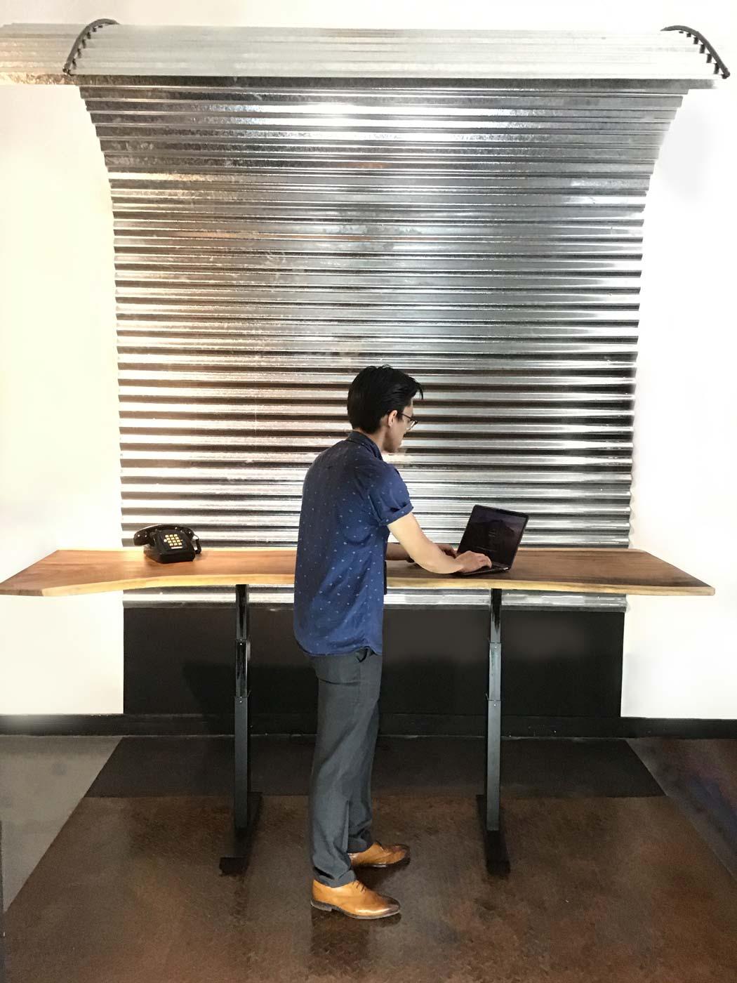 Live Edge Suarwood Table office set-up