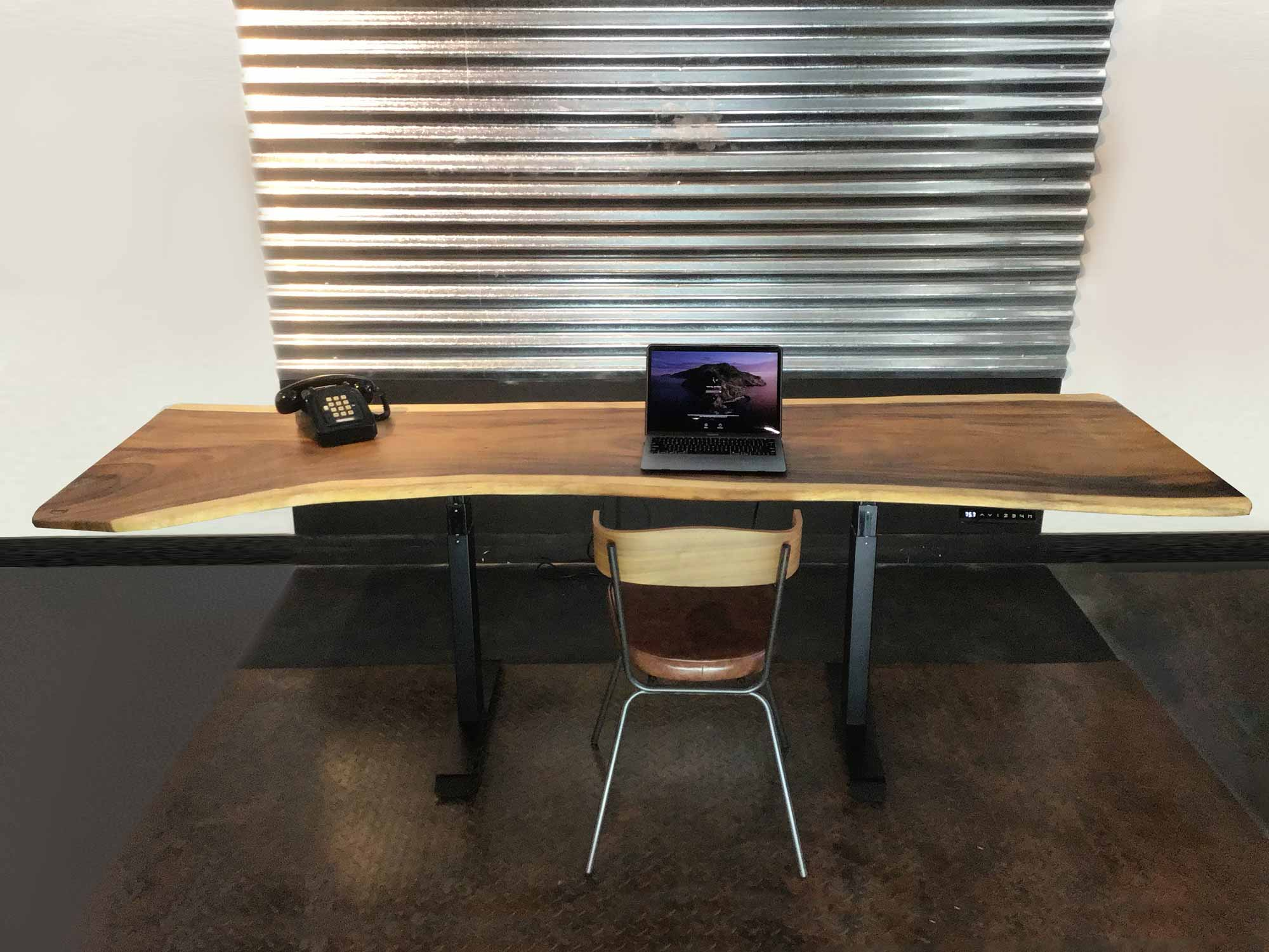 Live edge Suar wood table with wooden chair office set-up