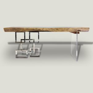 Mandarin live edge wooden dining table with metal and glass base