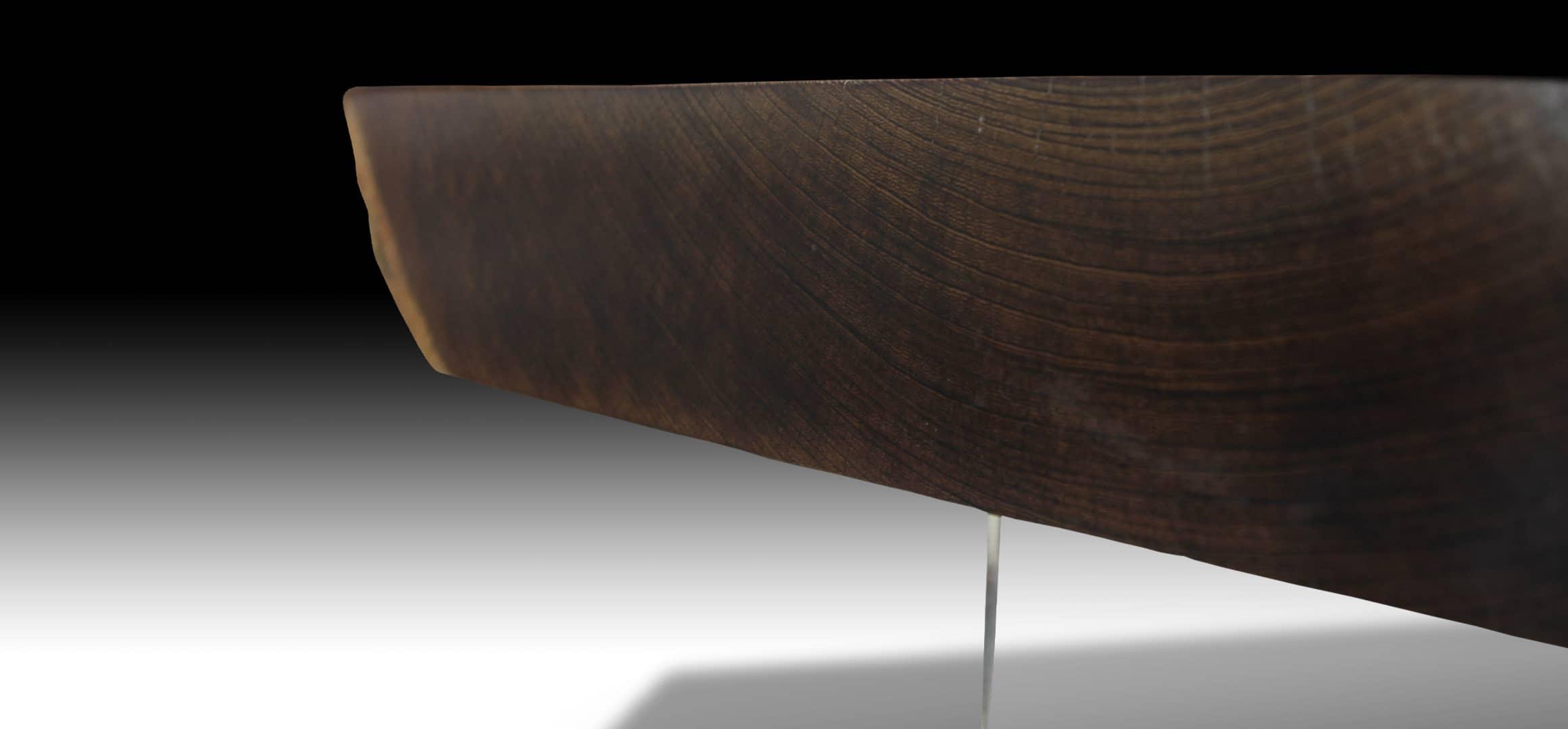 Mandarin live edge Walnut wood dining table side view