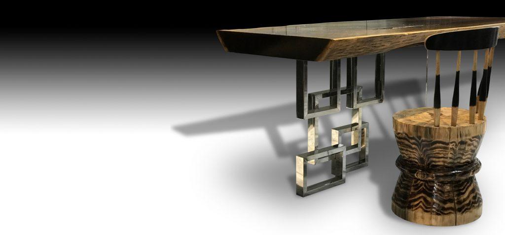 Mandarin live edge Walnut wood dining table with organic Zen chair