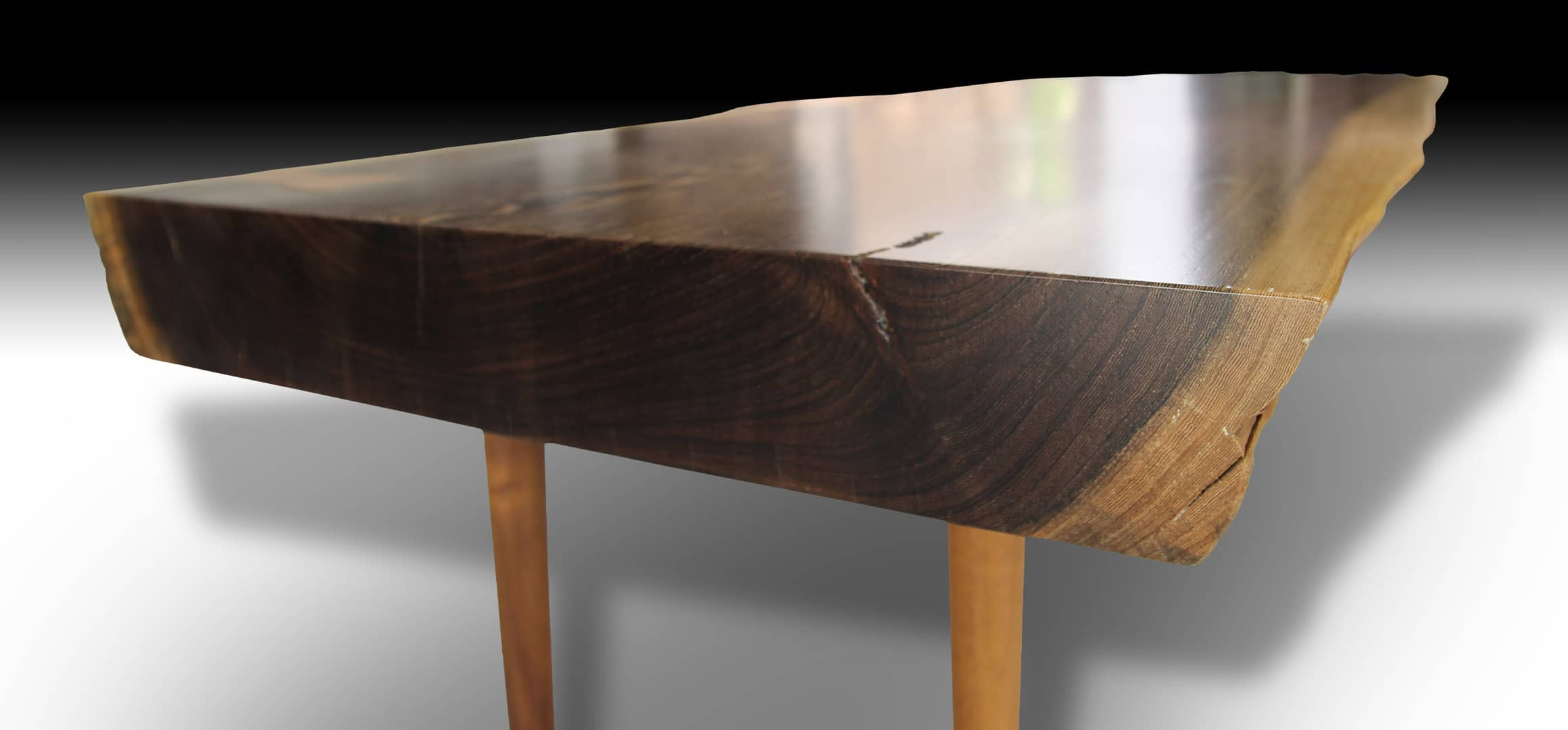 Phoenix live edge Suar wood coffee table surface view from the side