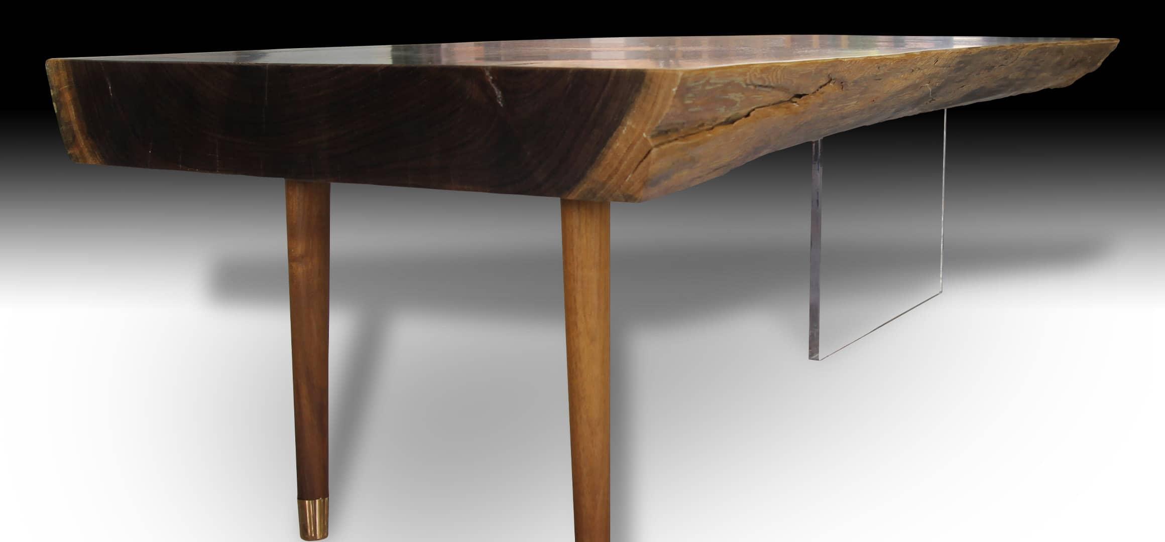 Phoenix live edge Walnut wood coffee table diagonal view