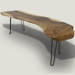 Rika live edge wooden coffee table with metal base