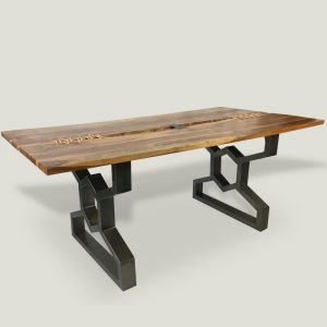 Thanya live edge wooden dining table with metal base