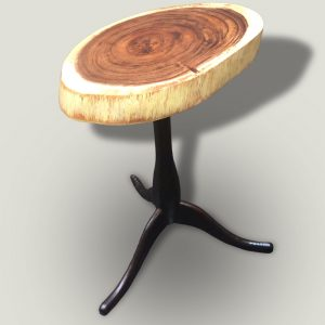 Tripod wooden side table with wooden base