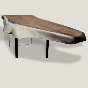 Waterfall live edge wooden dining table with wooden and glass base