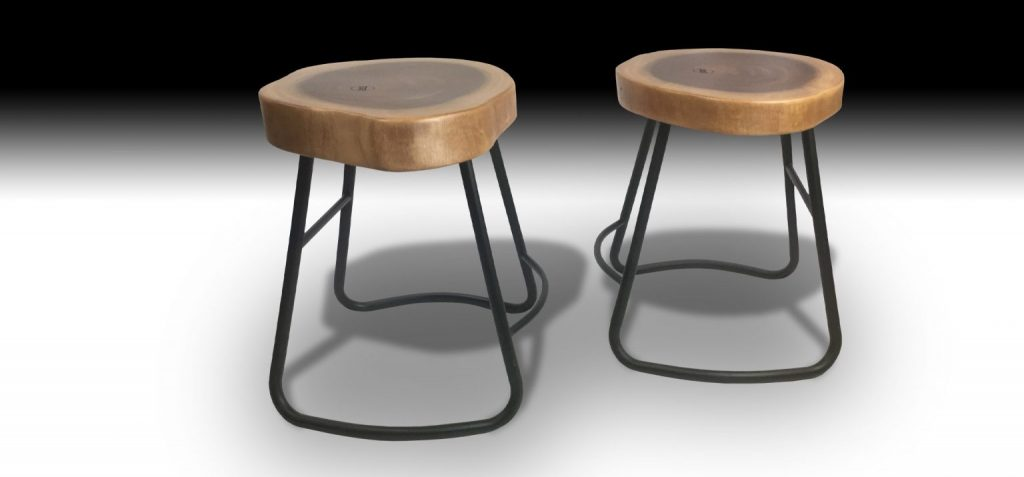 Two Julian Mahogany stools