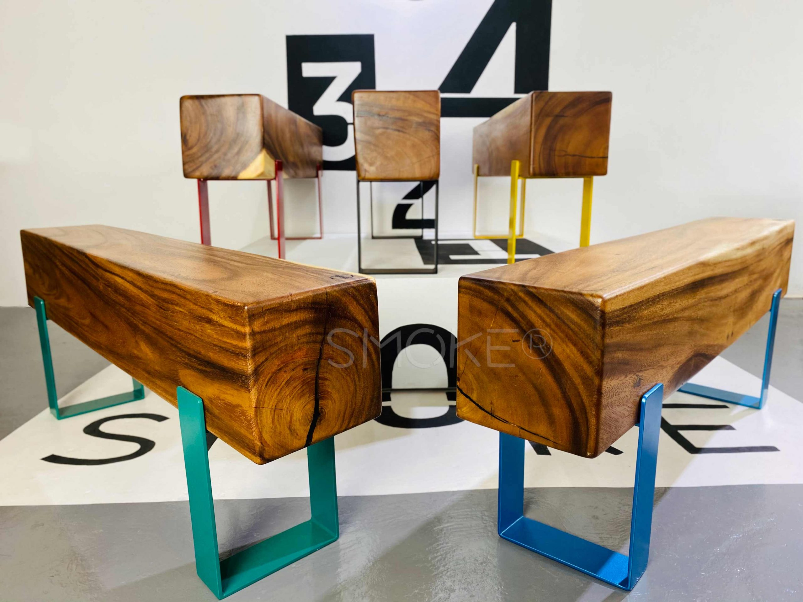 Logan Wooden Bench Perspective Display 3