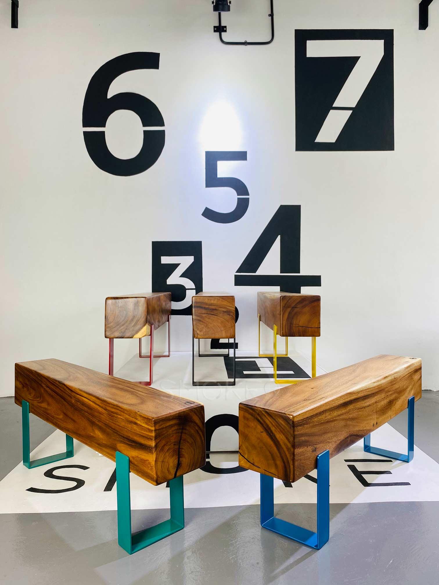 Logan Wooden Bench Perspective Display