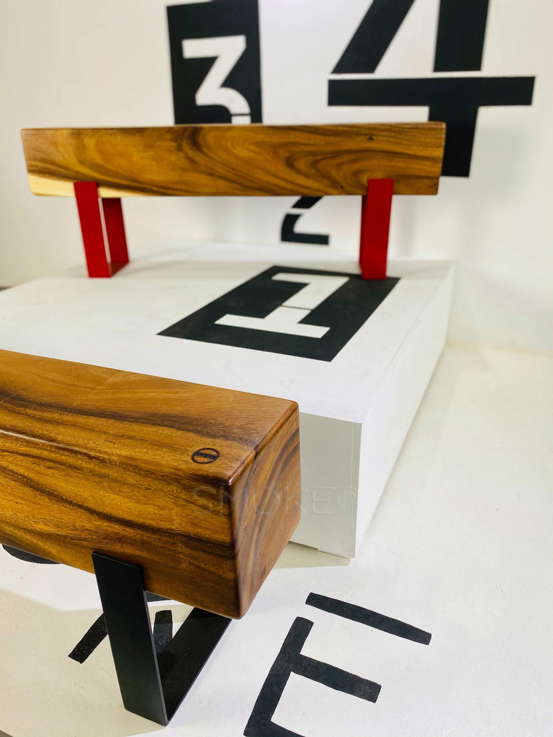 Logan Scarlet Wooden Bench Perspective Display