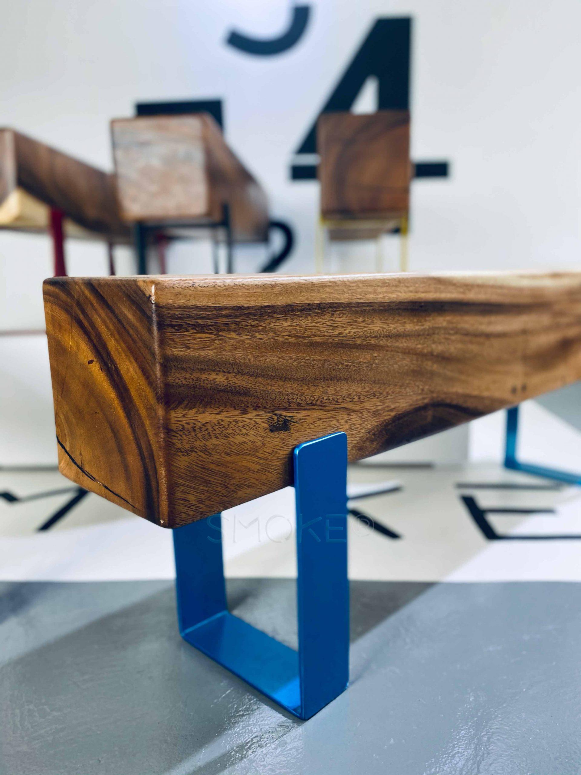 Logan Aqua Wooden Bench Perspective Display
