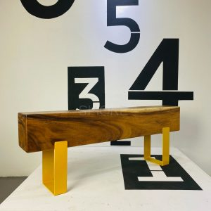Logan Canary Wooden Bench Angled View 3