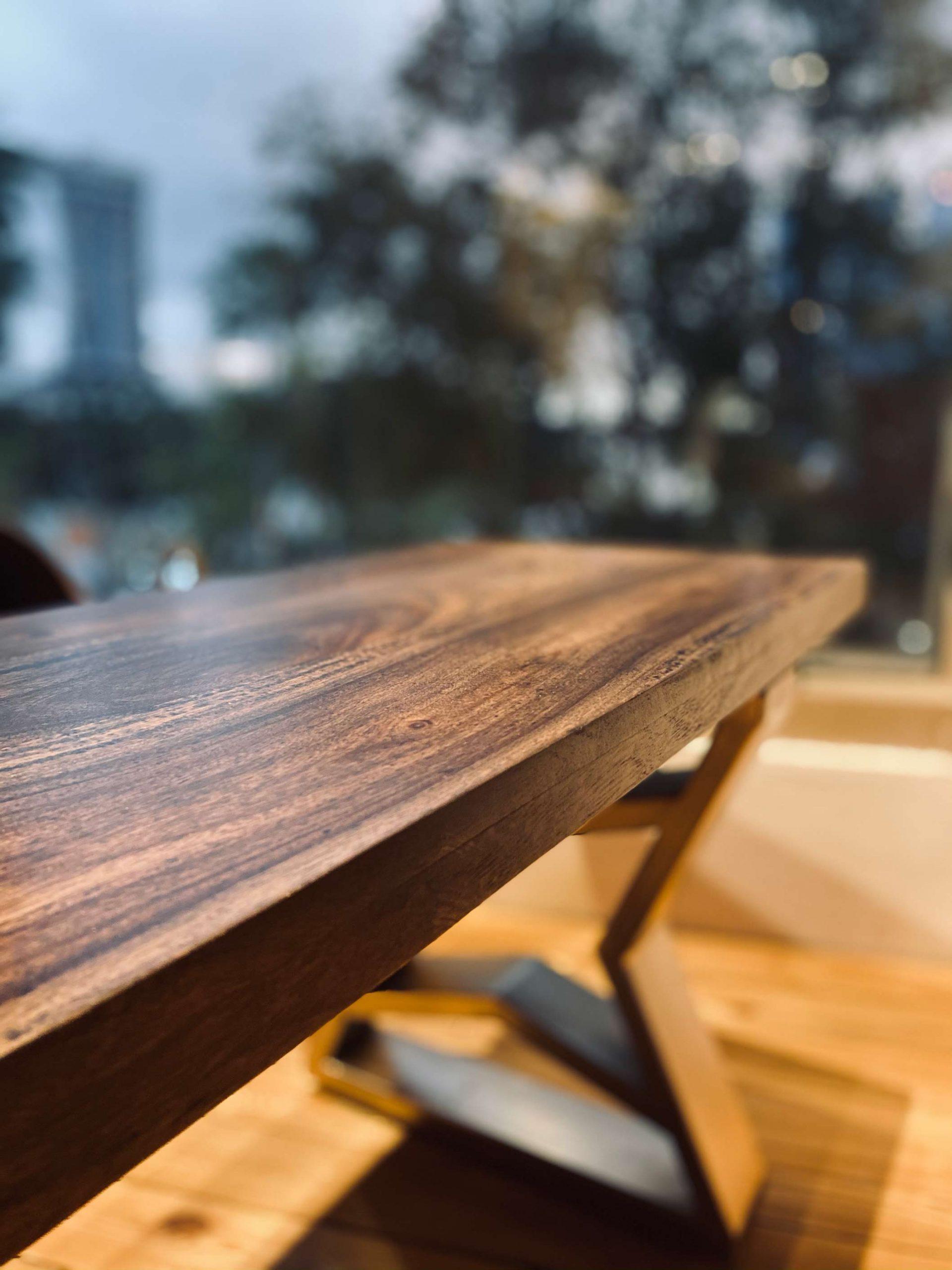 Suar Wood Table Angled View