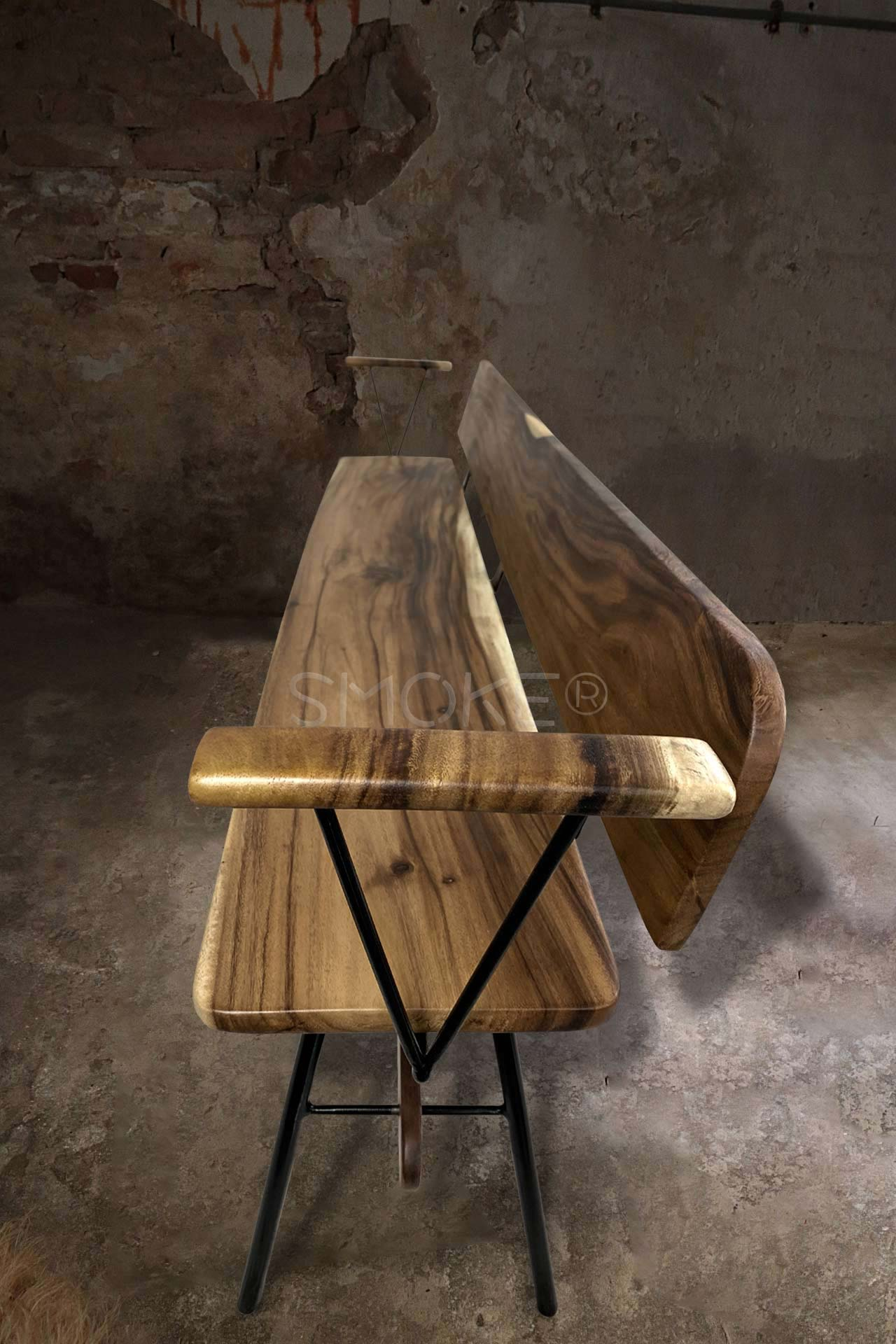 Wooden Bench Top View