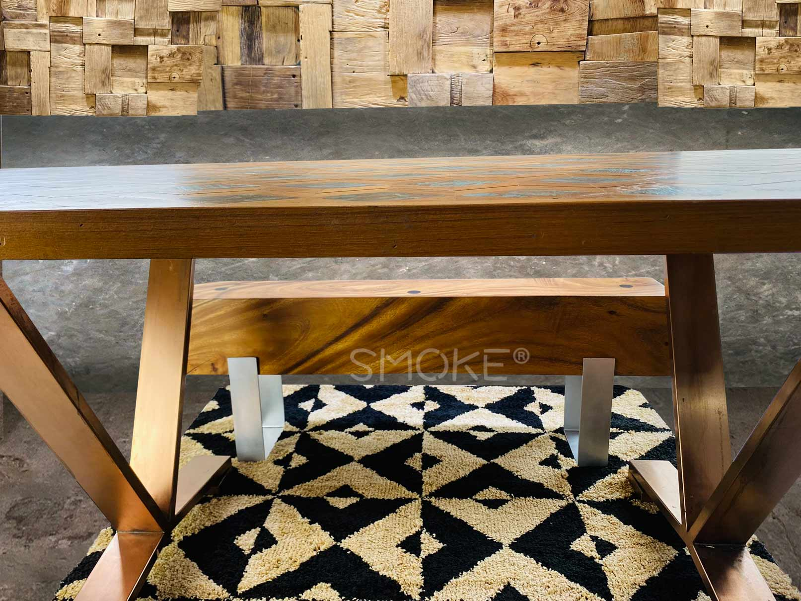 issac dining table with logan bench