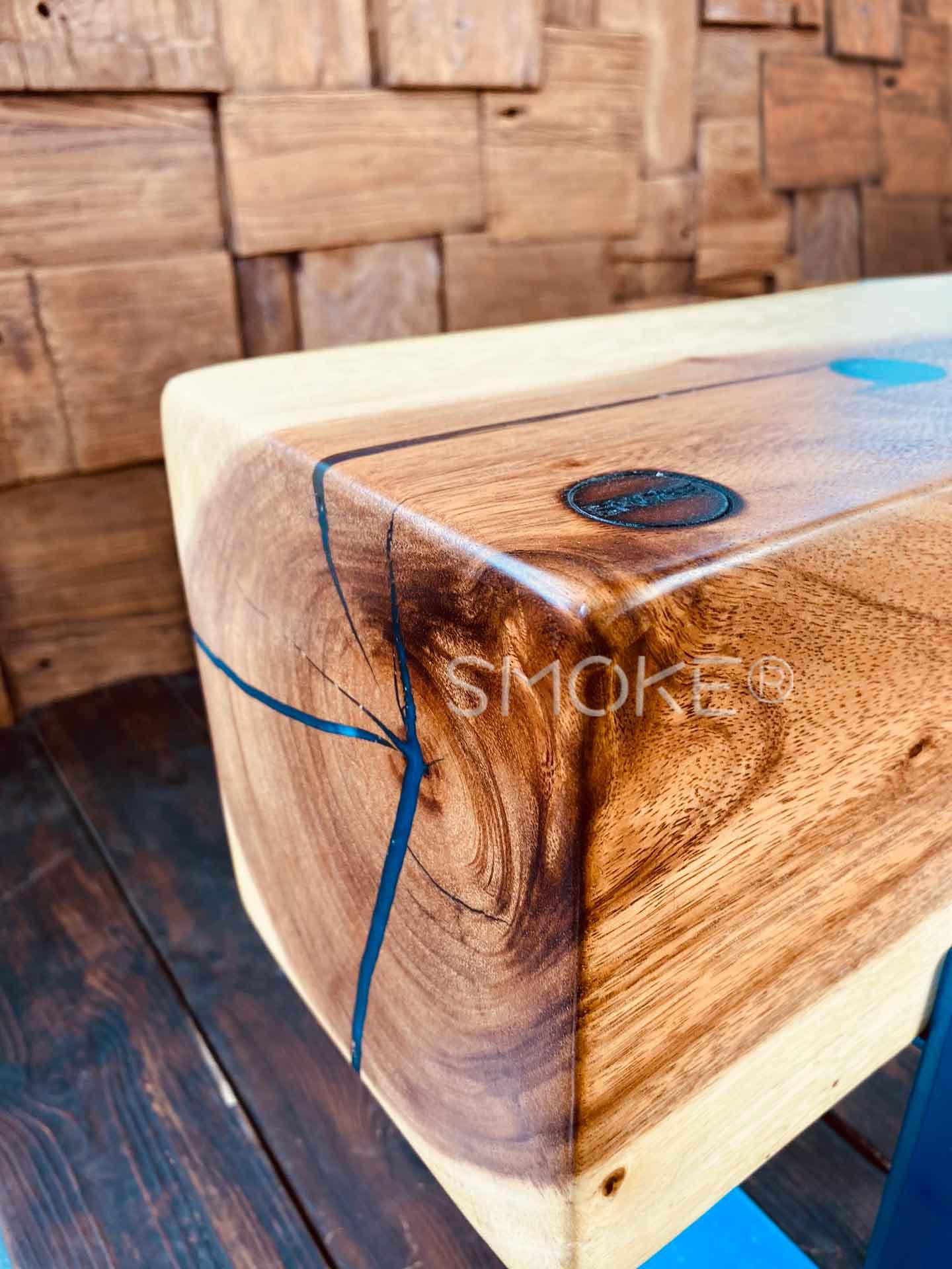 Logan Aqua Epoxy Suar Wood Bench