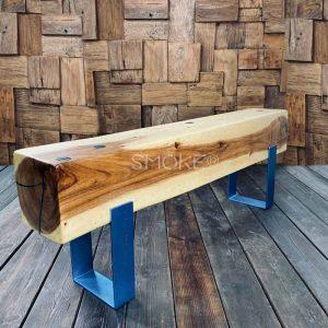 solid wood Logan Aqua Epoxy Bench
