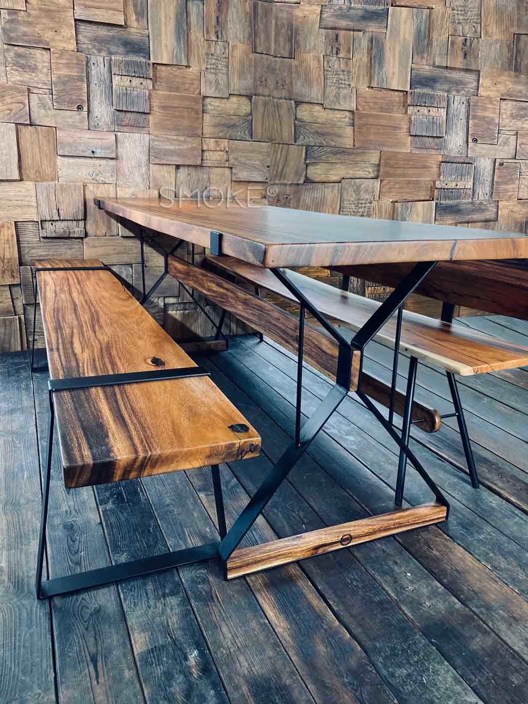raintree wood table and bench